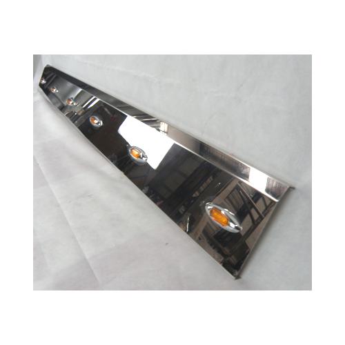 Stainless Steel Tank Skirt Square 640MM 3 LED AmberSingle Kenworth/Freightliner/Iveco